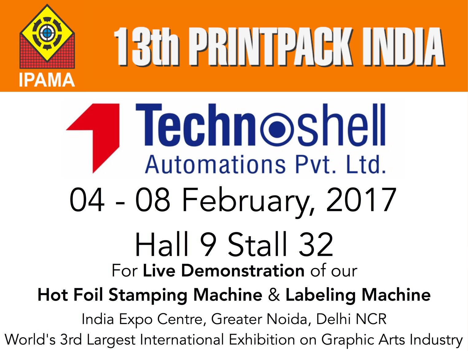 Visit us at the 13th PrintPack 2017